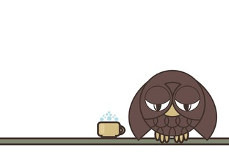 Sleepy Owl with a mug of coffee sitting on a branch. White background