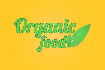 Organic Food logo. Organic Food words with two green leaves .
