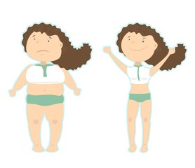 results of the right diet: fat girl and thin girl. Losing the extra kilos