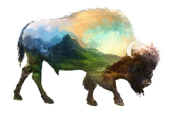 Bison double exposure illustration