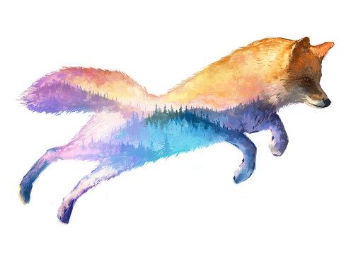 Fox double exposure illustration