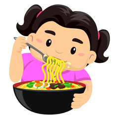 Vector Illustration of a Girl eating noodles using fork