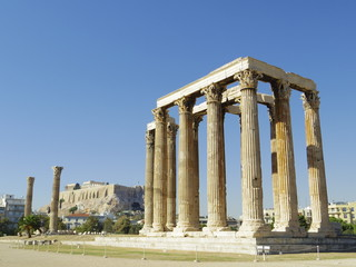 Temple of Olympian Zeus and Acropolis of Athens