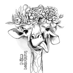 Image Portrait of a giraffe in the flowers. Vector illustration.