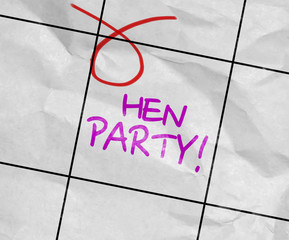 Concept image of a Calendar with the text: Hen Party