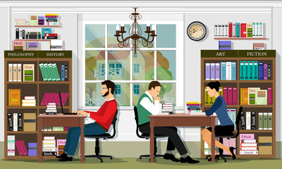 Stylish graphic library interior with furniture and people. Reading area of the library. Detailed vector set: books, bookshelves, bookcases, tables, people. Flat style vector illustration.