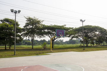 Empty basketball court hoop net, outdoor basketball court for sport leisure at recreation park