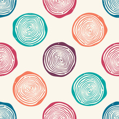 Vector grunge seamless pattern with tree rings. Modern rustic design.