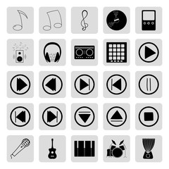 Music buttons instruments and dj 25 simple icons set