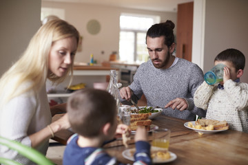 Family having lunch together at home