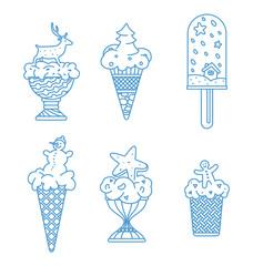 Ice cream with new year cartoons set