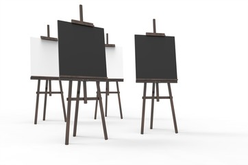 Painting board Easel with and poster signboard isolated