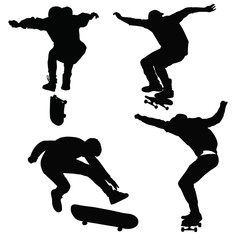 Teenagers ride on a skateboard