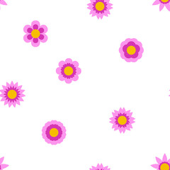 Seamless flat flowers repeating pattern. Vector background.