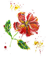 Wax drawing of red poppy with green leaves on white