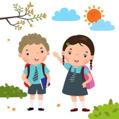 Two kids in school uniform going to school