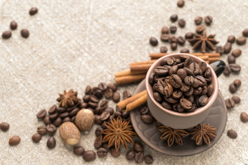 Coffee beans in the ceramic cup