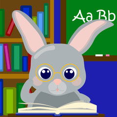 School learning rabbit with book