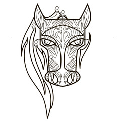 Line vector image for art therapy with horse