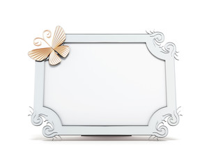 Decorative frame for photos isolated on white background. With butterfly and curls. 3d rendering.