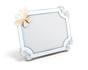 Frame with butterfly for photos isolated on white background. 3d render image.