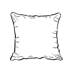 Throw pillow sketch. Vector illustration.