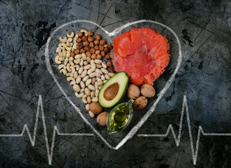 healthy fats. healthy fats for heart. top view.