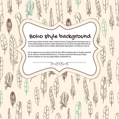 Boho background with frame and feathers