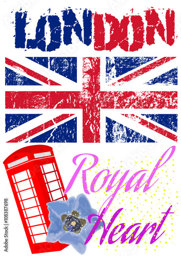 Colorful And Grunge London T Shirt Apparel Graphic Design With Royal