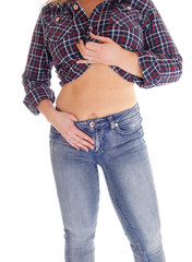 Middle age woman showing her stomach.