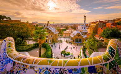 Photo sur Toile Barcelone Guell park in Barcelona