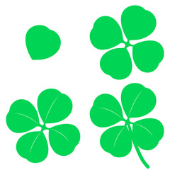 Isolated green four leaf clover (Trifolium repens) clip arts in four different stages from single leaf to full petals - Eps10 Vector graphics and illustration