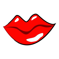 Isolated glossy red female lips on a white background for beauty and health projects, prints and stickers, logos etc - Eps10 Vector graphics and illustration