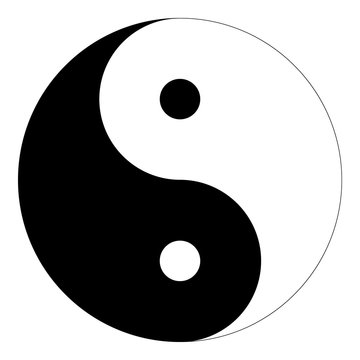 """Isolated black and white """"Yin Yang"""" symbol of harmony and balance in Chinese philosophy on a white background - Eps10 Vector graphics and illustration"""