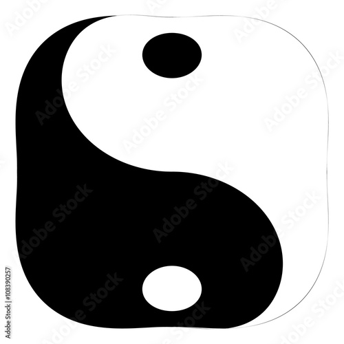 Isolated And Square Black And White Yin Yang Symbol Of Harmony And