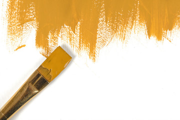 Color of mustard hand-painted daub with paint brush