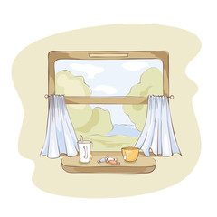 Tea party on the train. / Vector illustration of a view from the window of a passenger train.