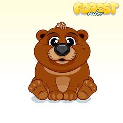 Cute Cartoon Brown Bear. Funny Vector Animal