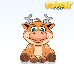 Cute Cartoon Axis Deer. Funny Vector Animal