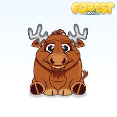 Cute Cartoon Forest Elk. Funny Vector Animal