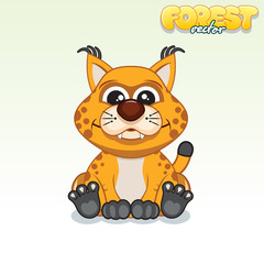 Cute Cartoon Red Lynx. Funny Vector Animal