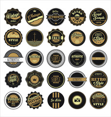 Vintage labels black and brown set