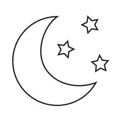 Line icon moon. Vector illustration.