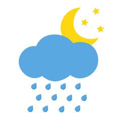 Flat icon rain and moon. Vector illustration.
