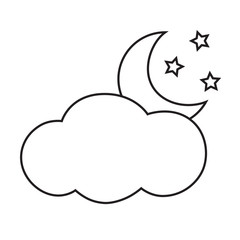 Line icon cloud and moon. Vector illustration.