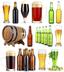 Different types of beer, isolated on white