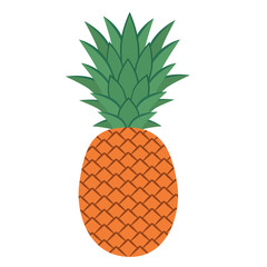 Flat icon pineapple with leaves. Vector illustration.