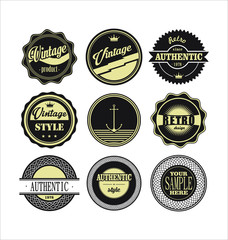 Vintage labels black and beige set