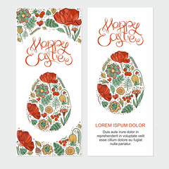 Happy easter cards illustration with easter egg,hand lettering