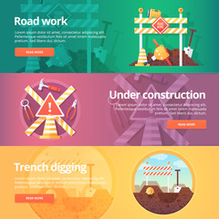 Construction and building banners set. Flat illustrations on the theme of road work, under construction, trench digging. Vector design concept.